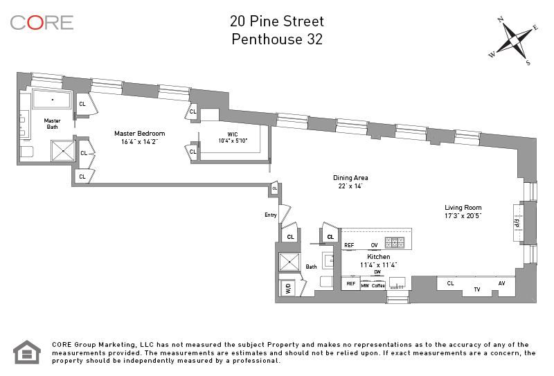 20 Pine St. PH32, New York, NY 10005